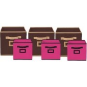 Billion Designer Non Woven 6 Pieces Small & Large Foldable Storage Organiser Cubes/Boxes (Coffee & Pink) - CTKTC35368 CTKTC035368(Coffee & Pink)