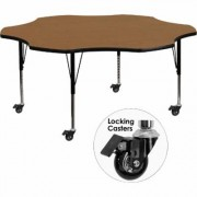 Flash Furniture Flower-Shaped Activity Table - Oak, 60Inch W x 60Inch D x 17 3/8-25 3/8Inch H, Model XUA60FLROKTPC
