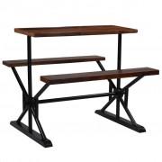 vidaXL Mesa de bar com bancos madeira recuperada maciça 120x50x107 cm