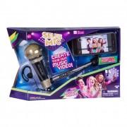 Selfie mic - mikrofon szelfi bottal, fekete