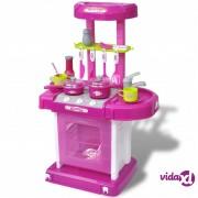 vidaXL Dječja Igračka Kuhinja sa Svjetlosnim i Zvučnim Efektima Ružičasta