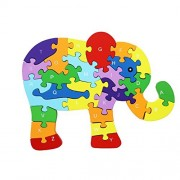 Meshion Elephant Shape Wooden Puzzle Block for Preschool Learning Letter & Numbers Educational Toy,Winding Jigsaw Puzzles Toddlers,Kids,Boys,Girls,3,4,5 Years Old Or up