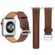 Apple Leren Apple watch bandje 42mm / 44mm - Woven pattern - Donker bruin
