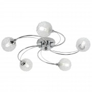 HOMCOM 5 Way Crossover Ceiling Light Swirl Pendant, G9 Base, 25W-Silver