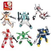Generic Sluban Auto Roboter Building Blocks Klassische Transformation Robot Aktionsspielfiguren Kinder Bildung Spielzeug Gift Toys Gifts 6pcs Roboters