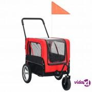 vidaXL 2-u-1 prikolica za bicikl i kolica za kućne ljubimce crveno-crna