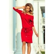 numoco Červené dámské sportovní šaty se zavazováním a kapsami 13-96 XS