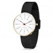 Arne Jacobsen Clocks Armbandsur Bankers Vit/guld/matt svart 34 mm Arne Jacobsen Clocks