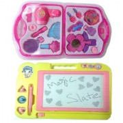 combo of Kids Drawing Writing Slate with Beauty accessories set (multicolor)