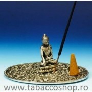 Suport rotund metalic pentru betisoare si conuri parfumate Buddha 7.60cm
