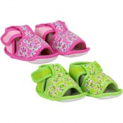 Neska Moda Pack Of 2 Baby Boys and Girls Pink and Green Floral Cotton Velcro Anti Slip Booties For 0 To 12 Months