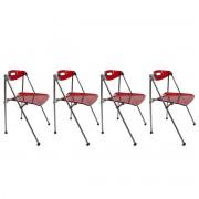 Lote de 4 sillas plegables Julie de diseño color rojo - Miliboo
