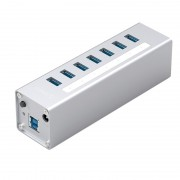 ORICO A3H7-SV Aluminum Alloy 7 Port USB3.0 Hub - Silver/US Plug
