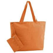 Merkloos Polyester oranje shopper/boodschappen tas 47 cm