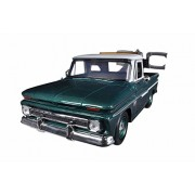 1966 Chevy C10 Fleetside Pickup Tow Truck, Green w/ White Roof - Motor Max 75344AC - 1/24 Scale Diecast Model Toy Car