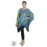 Authentic Tie Dye Blue Poncho Tunic Freesize Beach Caftan Coverup