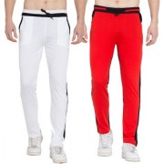 Cliths Cotton Track Pants for Men/ Sports lower/ Jogger Pants- Pack of 2 (Black White Red Black)