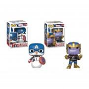 Cap snowman y Thanos holiday funko pop Navidad
