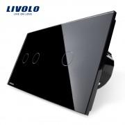 Intrerupator dublu + simplu cu touch Livolo din sticla, negru