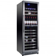 Vitrina de vinuri Nevada Concept NW138D-SSL, 138 sticle, doua zone, negru/otel inoxidabil