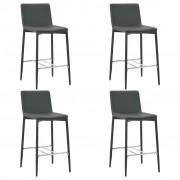 vidaXL Бар столове, 4 бр, сиви, изкуствена кожа