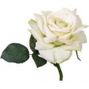 Bellatio flowers & plants Roos deluxe wit 31 cm Kunstbloem