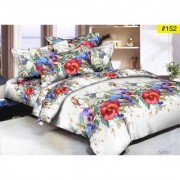 Luxmi Attractive flowers Design 3D Double Bed sheets With 2 Piilow covers - White