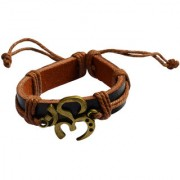 Men Style Handmade Om With Cotton Dori Lace Up Gold And Brown Leather And Gold Plated Bracelet For Men