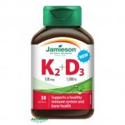 JAMIESON Vitamíny K2 120mcg a D3 1000 IU 30 kapslí