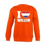 Bellatio Decorations Oranje I love Willem trui jongens en meisjes 96/104 (3-4 jaar) - Feesttruien