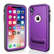 REDPEPPER Dot+ Series Dustproof Snowproof IP68 Waterproof Back Cover with Kickstand for iPhone XR 6.1 inch - Purple