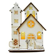 LED Light Wood House Cute Christmas Tree Hanging Ornaments