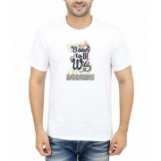 DOUBLE F ROUND NECK HALF SLEEVE WHITE COLOR BORN TO BE WILD PRINTED T-SHIRTS