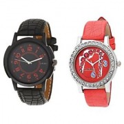 Laurex Analog Leather Watches for Lovely Couple Combo-LX-021-LX-152