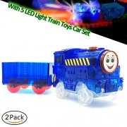Three Bears Train Toys Car Set, Light-up Train Car with 1 Container,Big Energy Fit Most Racing Track Accessories,Great Gift for Boys and Girls(Blue,Pack of 2)