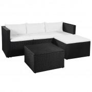 vidaXL Set mobilier grădină, 10 piese, poliratan, negru și alb crem