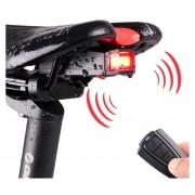 IP65 Impermeable USB Recargable Inteligente COB LED Bicicleta Luz Trasera Luz Trasera Alarma Con Control Remoto, Control De Distancia: 1-100m