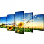 vidaXL Canvas Wall Print Set Sunflower 200 x 100 cm