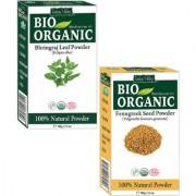 Natural Fenugreek (Methi) powder For Damage Hair And Bhringraj Powder For Hair Growth Set Of 2