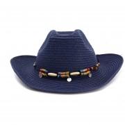 nuevo Primavera Verano bohemio estilo oeste vaquero de paja para yal aire libre de verano de Jazz Sombrero LANG(#Dark azul)