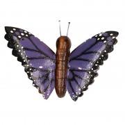 Geen Houten magneet paarse vlinder