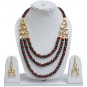 Lucky Jewellery Fashion Maroon Green Color Gold Plated Pearl And Stone Necklace Set For Girls & Women