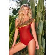 Costum de baie Cosita Linda rosu de lux intreg decolteu asimetric cu volanase