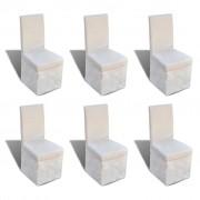 vidaXL Scaune de bucătărie 6 buc, husă textilă, alb crem