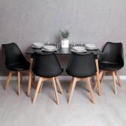 RegalosMiguel Conjunto Mesa Tower Rectangular 120 x 80 cm Negra y Pack 4 Sillas Synk Basic - Negro