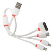 Cablu de Date 4 in 1 Micro Usb Lightning 30 Pin iPhone 3G 4S 5S 6S Samsung HTC LG Nokia Alb si Portocaliu Plat 40CM