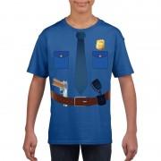 Shoppartners Politie uniform kostuum t-shirt blauw voor kinderen