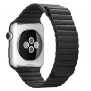 Magnetic Loop Genuine Leather Watch Band for Apple Watch Series 4 44mm / Series 3 2 1 42mm - Black