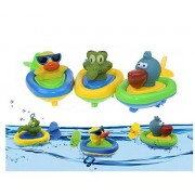YuKing Amphibious Pull and Go Boat Car Playset Bathing Soft Rubber Animal Boat Swimming Bathtime Fun Bath Tub Toys for Baby Toddlers
