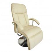 vidaXL Fotoliu de masaj electric, piele artificială, alb crem